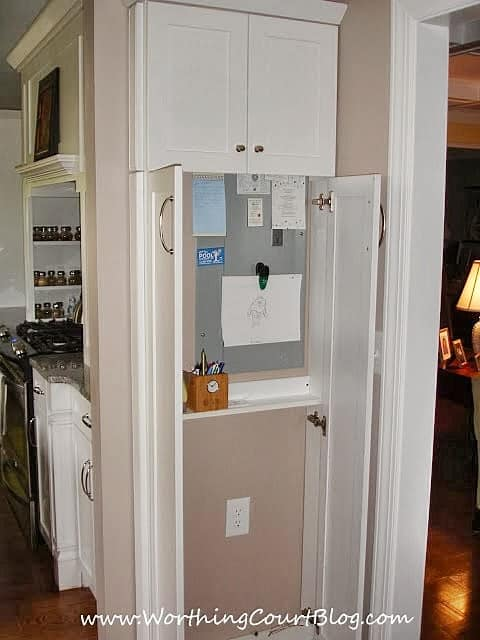 Kitchen command center in a shallow cabinet