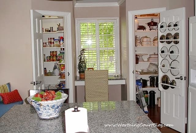 Remodeled kitchen with double walk-in pantries