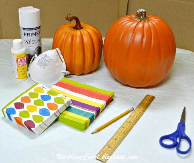 How to decoupage fake pumpkins with decorative napkins for Fall, Halloween and Thanksgiving :: WorthingCourtBlog.com