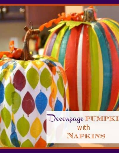 Decoupage pumpkins with decorative napkins