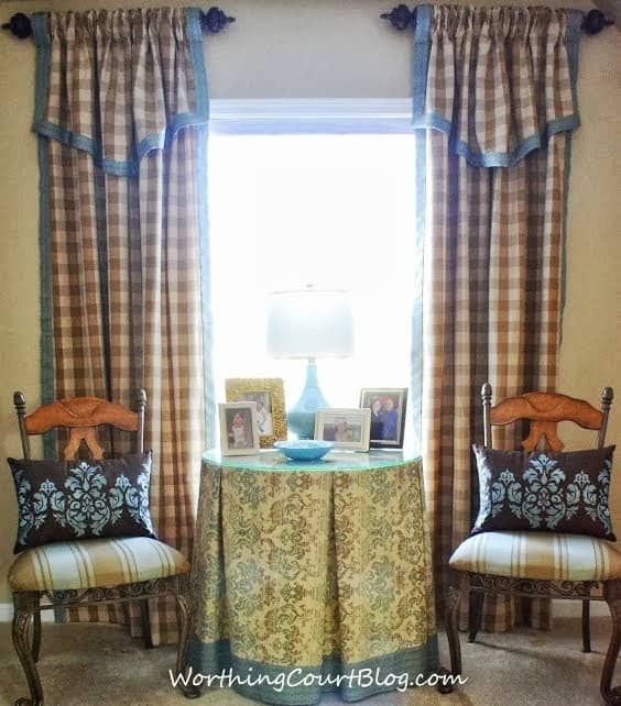 Drapery panels and box pleated table cover in the master bedroom sitting area