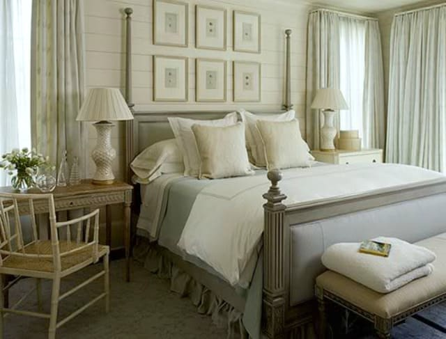 Loads of tips for how to organize, decorate and add style to a small bedroom. If you use a monochromatic color scheme in the bedroom, be sure to use varying shades of the color and to add texture so that the room won't feel flat and uninviting.