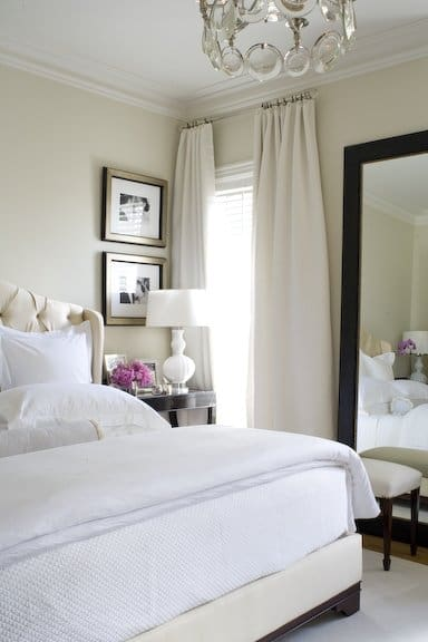 Loads of tips for how to organize, decorate and add style to a small bedroom. Besides the obvious utilitarian use of a mirror, they also bring additional light into the room. More light equals a more spacious feel.