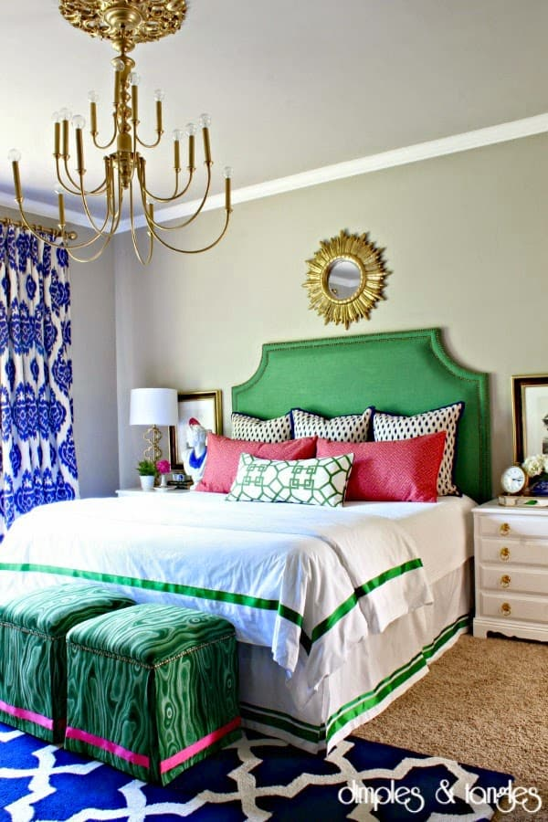Loads of tips for how to organize, decorate and add style to a small bedroom. An upholstered headboard can add a real feeling of luxury to your bedroom and will create a wonderful focal point. This is a great place to add a pop of color and/or pattern without overwhelming the room.