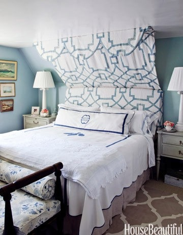 Loads of tips for how to organize, decorate and add style to a small bedroom. If a knee wall is the only place for your bed to go, don't despair. Swagging a piece of fabric is a stylish headboard solution.
