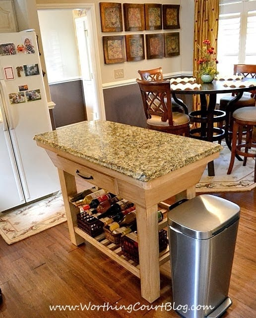 DIY French Country Kitchen Makeover: free standing island painted and glazed with a new granite top