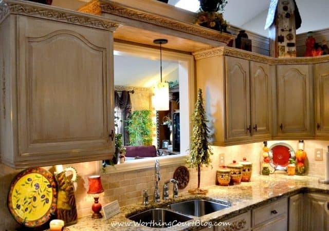 DIY French Country Kitchen Makeover: solution to no place for a light above the kitchen sink