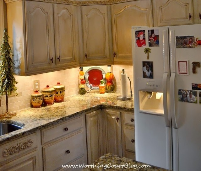 DIY French Country Kitchen Makeover: formula for painting and glazing existing oak cabinets