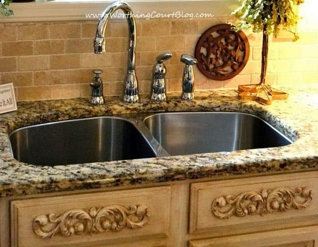 diy french country kitchen makeover appliques were added to faux drawer fronts under the sink. Interior Design Ideas. Home Design Ideas