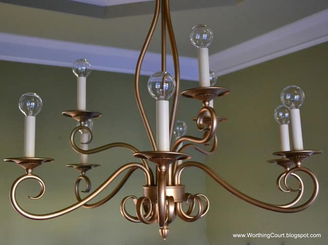 Updating the dining room worthing court worthing court update an old bronze chandelier with gold spray paint and modern shaped light aloadofball Images