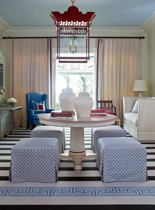 Patriotic Red, White and Blue living space