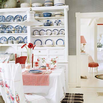 Patriotic Red, White and Blue kitchen