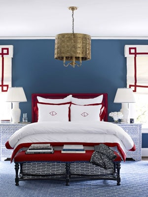 Patriotic Red, White and Blue bedroom