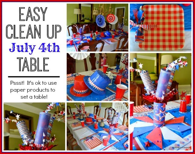 Fast and easy cleanup July 4th tablescape. Pssst! It's ok to use paper! :: WorthingCourtBlog.com
