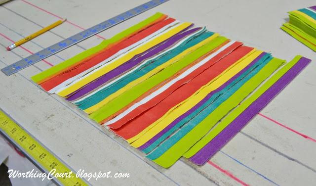 Decorative napkins cut into strips for decoupaging onto faux pumpkins