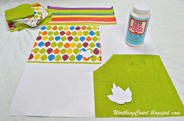 Supplies needed for making faux leaves using decorative napkins