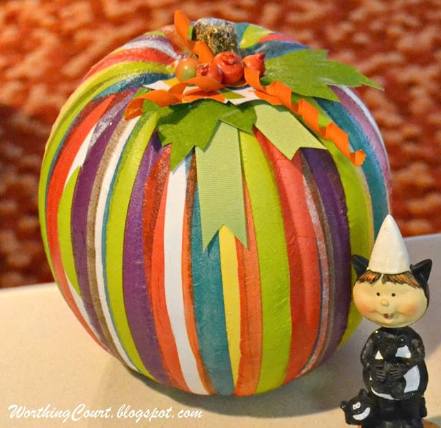 Completed faux pumpkin that has had decorative napkins strips applied with ModPodge