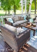 beige and aqua deck furniture and decor