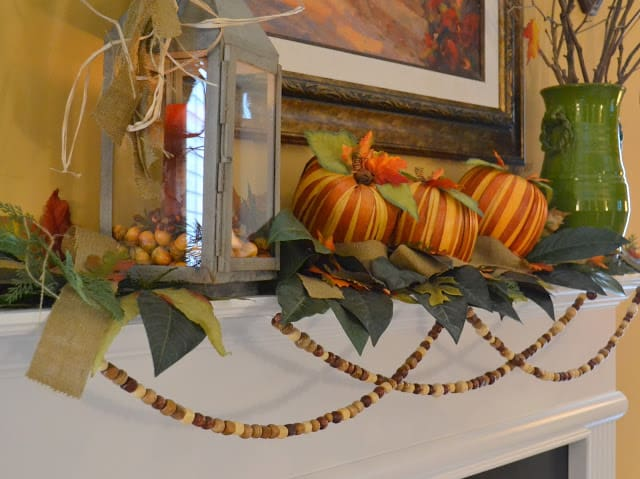 Mantle decorated for Fall using natural elements