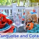 Turquoise and Coral Summer Table Setting