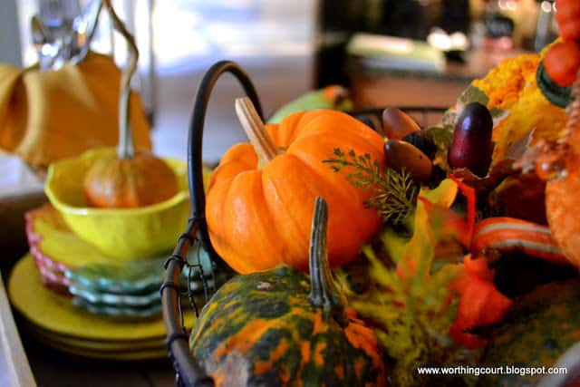 Fall vignette on a kitchen island