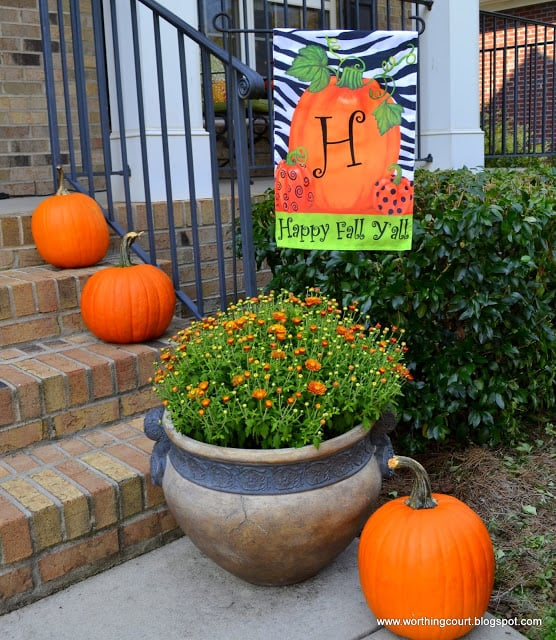 A decorative flag, a mum and some pumpkins for Fall