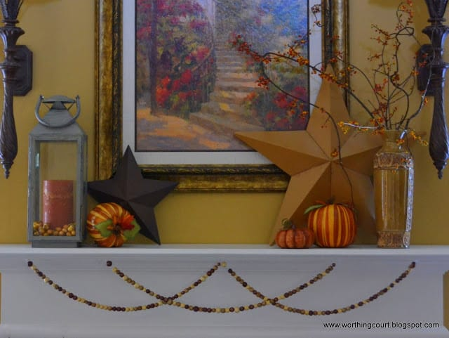 Unexpected stars on a mantle decorated for Fall