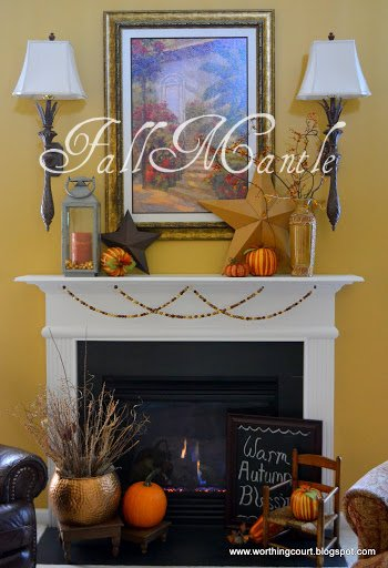 Fall decorations for a mantle