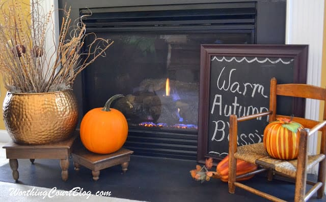 Fall decorations on a hearth