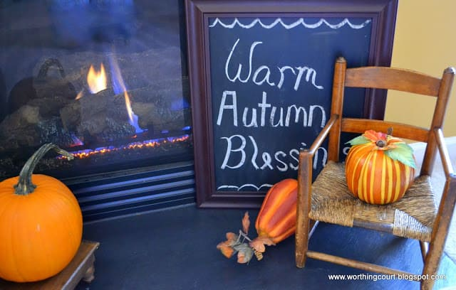 Chalkboard with wishes for Warm Autumn Blessings