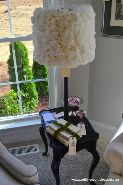 lamp shade covered with coffee filters via Worthing Court blog