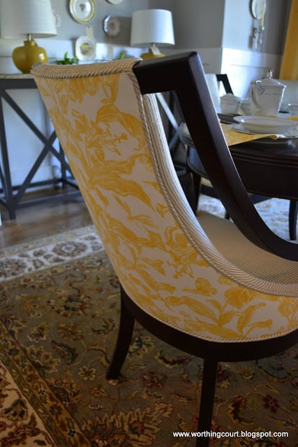 yellow and gray dining room chair via Worthing Court blog