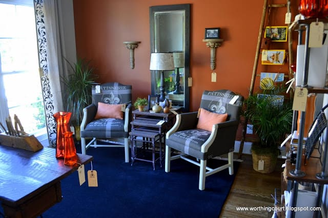Office filled with repurposed items via Worthing Court blog