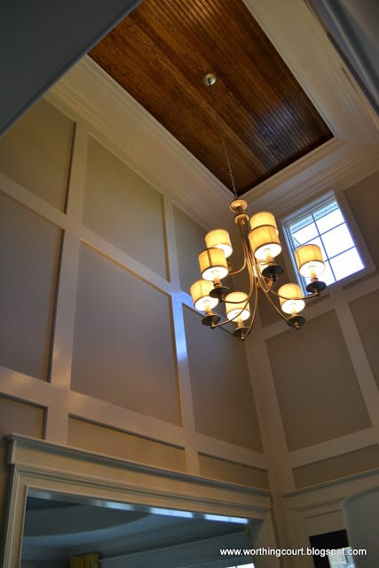 board and baton walls and beadboard ceiling in a foyer via Worthing Court blog