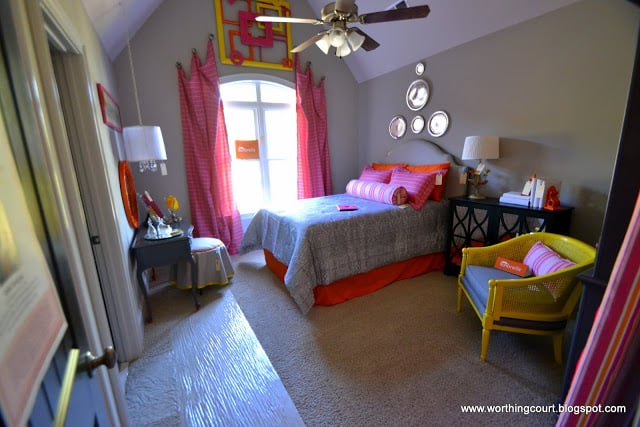 pink, yellow and gray girls bedroom via Worthing Court blog