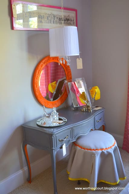 dressing table with bright colors via Worthing Court blog