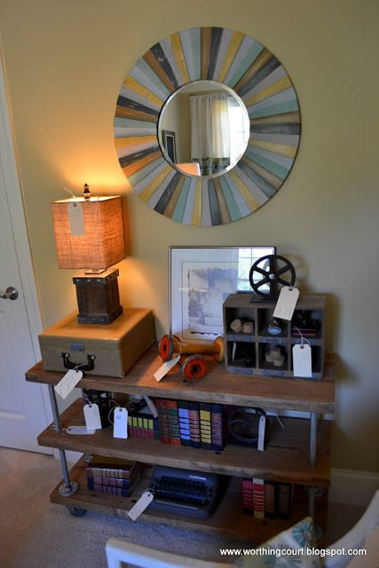 Shelving created with metal pipes and reclaimed wood via Worthing Court blog