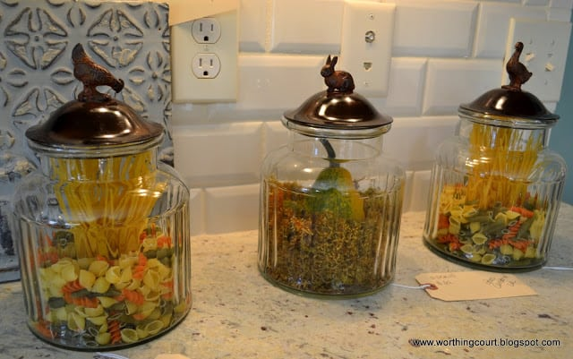 colored pasta in glass containers via Worthing Court blog