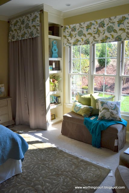 built-in shelves, draperies and bench with coordinating pillows via Worthing Court blog