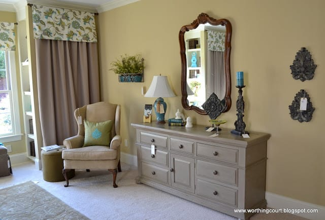 faux drapery panel, dresser and wall decor via Worthing Court blog