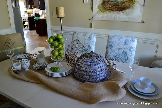 dining room table centerpiece with burlap and natural elements via Worthing Court blog