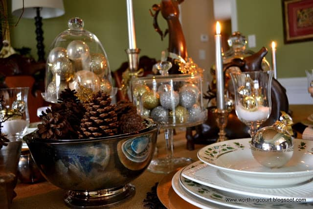 Christmas table, centerpiece, place settings and nativity scene at Worthing Court blog