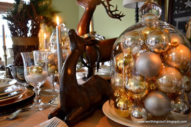 Christmas table, centerpiece, place settings and nativity scene via Worthing Court blog