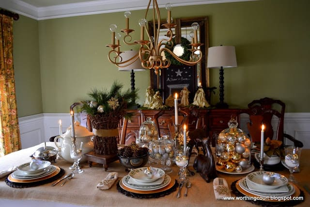 Worthing Court: Rustic and refined elements Christmas tablescape