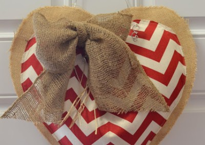 Burlap and Chevron Valentine Heart