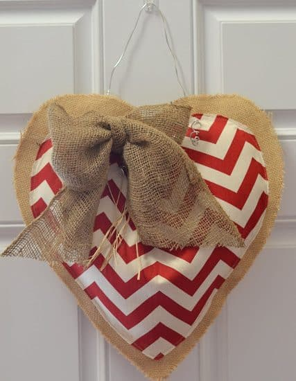 Worthing Court: DIY chevron and burlap Valentine's heart