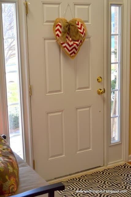 Worthing Court: diy burlap and chevron Valentine's heart decoration