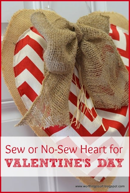 How to make this sew or no-sew burlap and chevron heart for Valentine's Day