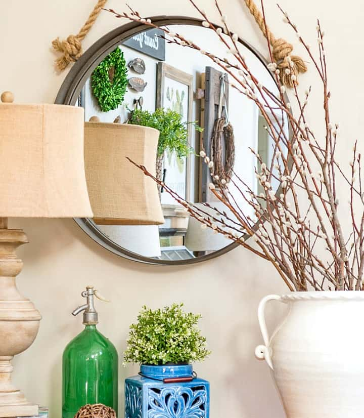 decorate for spring with forced pussy willow branches