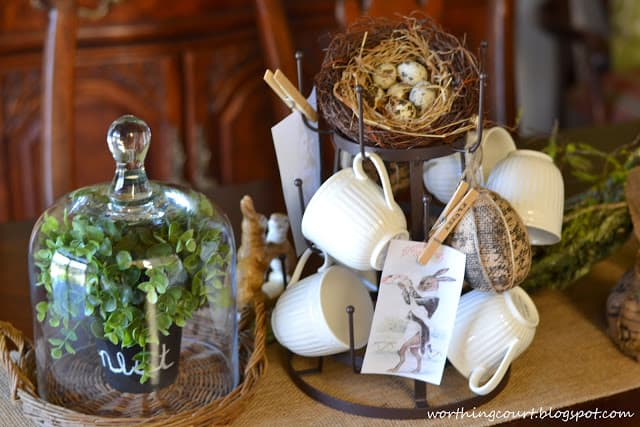 Easter centerpiece using burlap and natural elements via Worthing Court blog